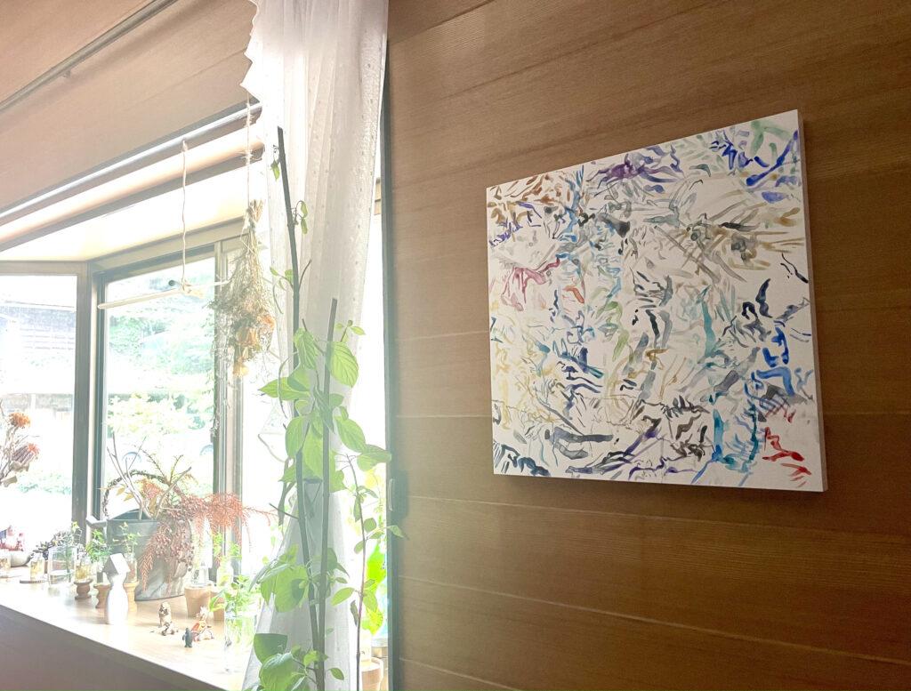 玄関に飾った自作の絵