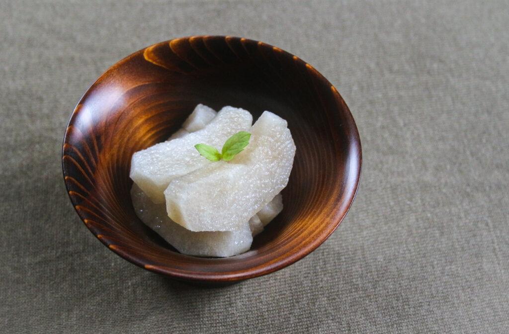 亀デザートカップに梨